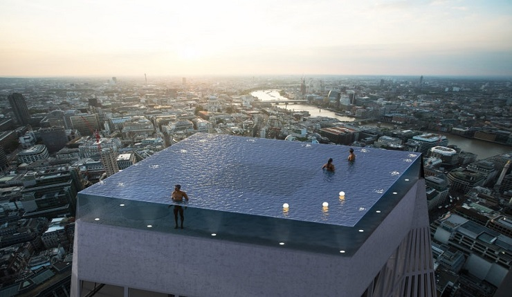 World's First 360-Degree Rooftop Infinity Pool Designed for London