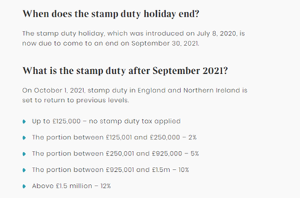 UK Stamp Duty Holiday