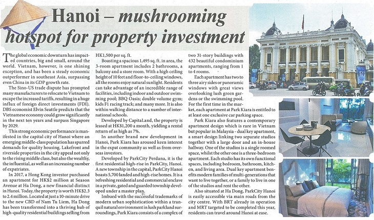 Hong Kong -based media covers Hanoi's property market  and the city's latest luxury residential sector