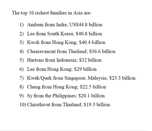top 10 richest familes in asia