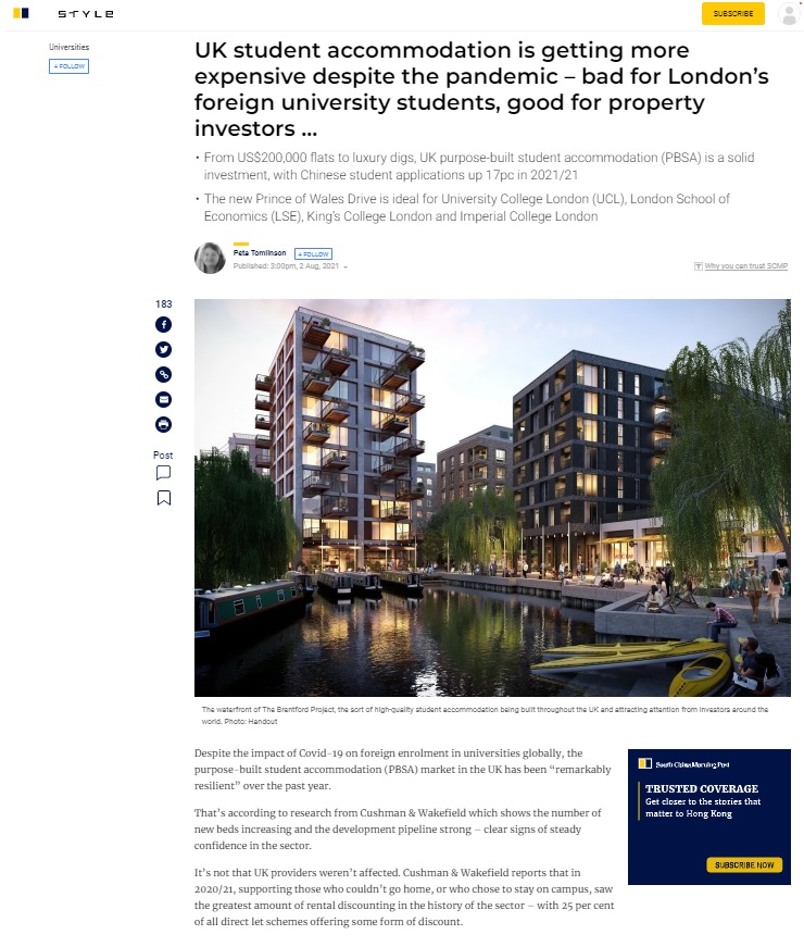 Ballymore's The Brentford Project in West London Featured in SCMP